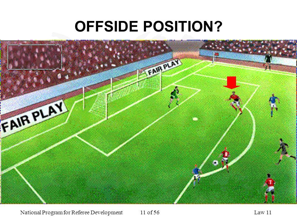 National Program for Referee Development 11 of 56Law 11 OFFSIDE POSITION?
