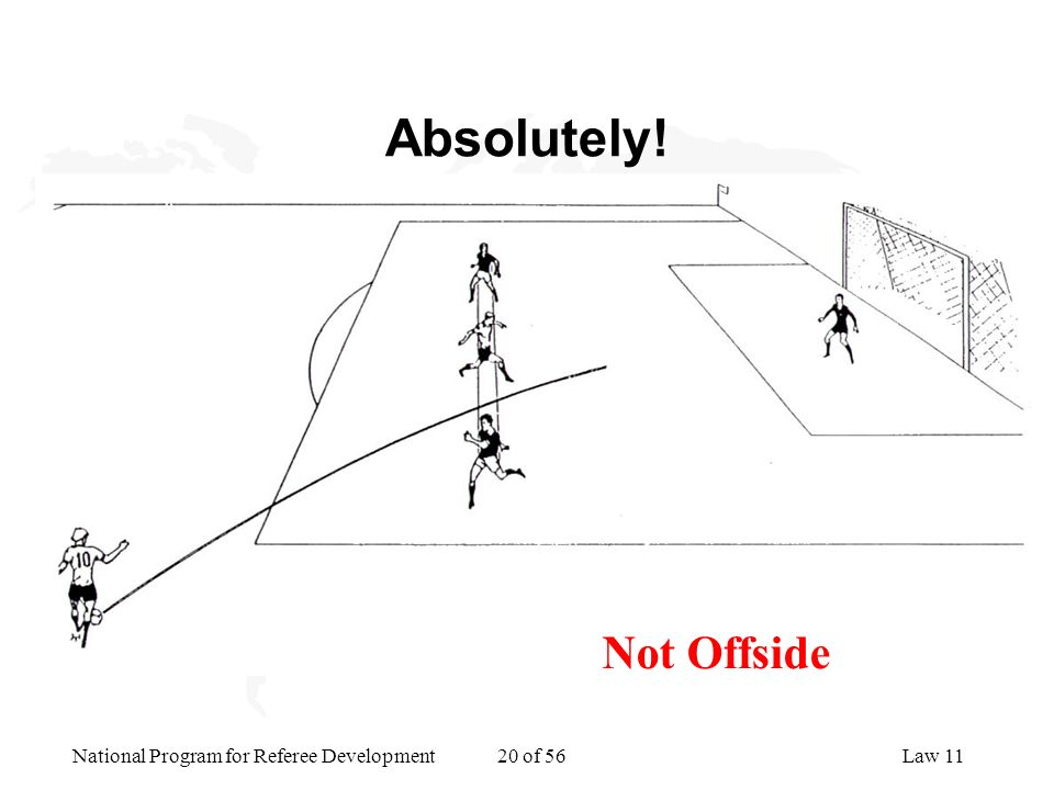 National Program for Referee Development 20 of 56Law 11 Absolutely! Not Offside