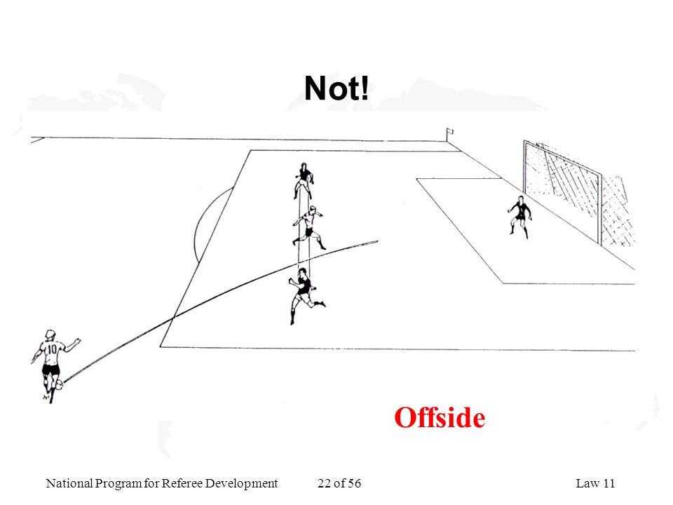 National Program for Referee Development 22 of 56Law 11 Not! Offside
