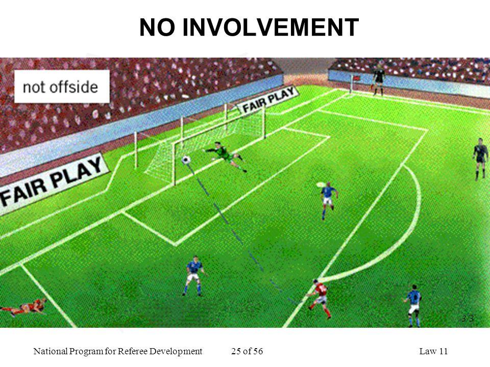 National Program for Referee Development 25 of 56Law 11 NO INVOLVEMENT 3/3