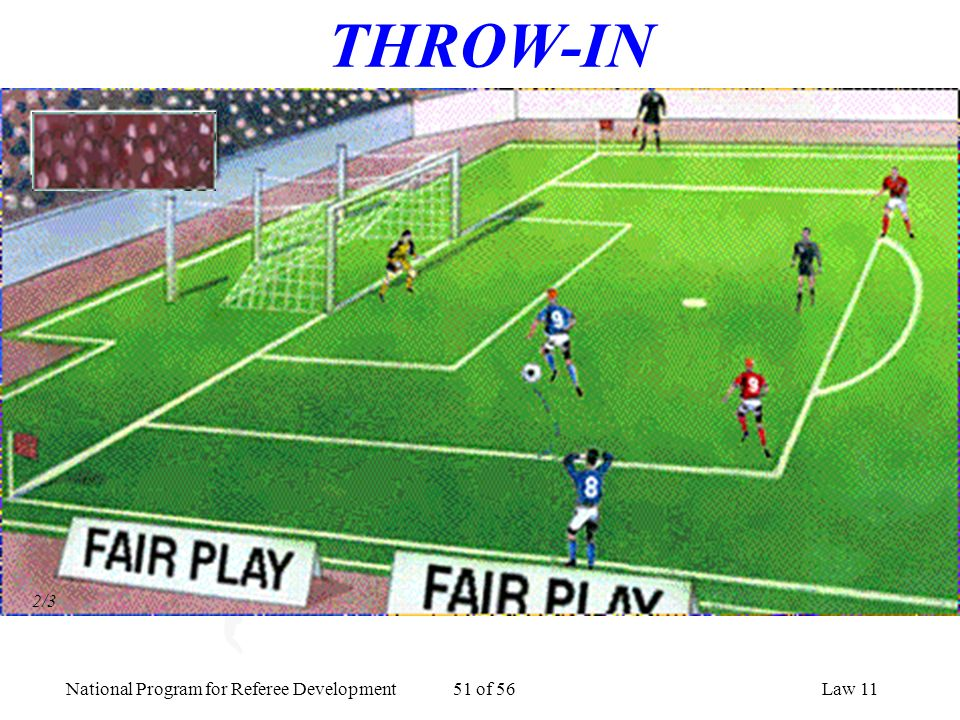 National Program for Referee Development 51 of 56Law 11 THROW-IN 2/3