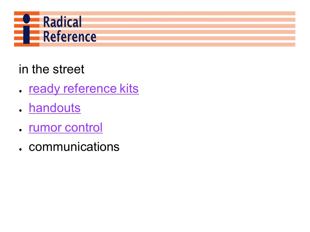 in the street ready reference kits handouts rumor control communications