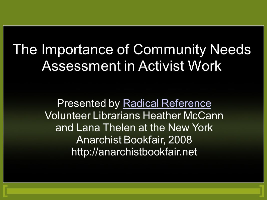 The Importance of Community Needs Assessment in Activist Work Presented by Radical Reference Volunteer Librarians Heather McCann and Lana Thelen at th