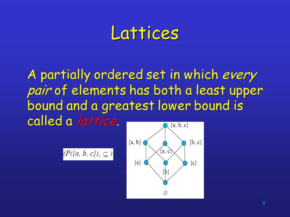 9 Lattices A partially ordered set in which every pair of elements has both a least upper bound and a greatest lower bound is called a lattice.