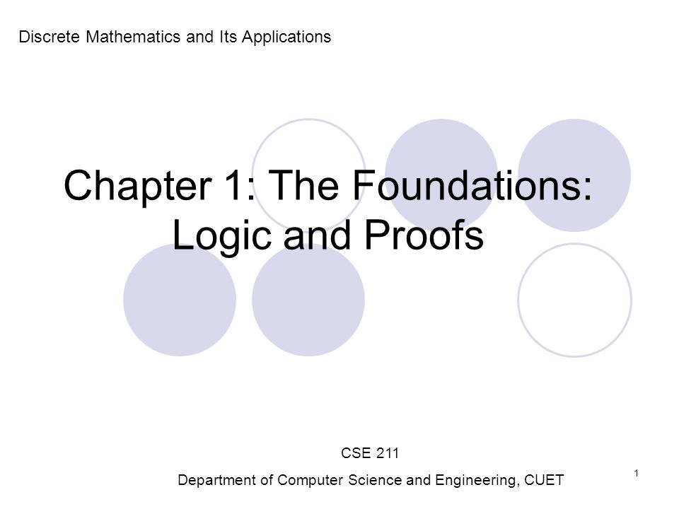 Chapter 1: The Foundations: Logic and Proofs Discrete Mathematics and Its Applications CSE 211 Department of Computer Science and Engineering, CUET 1