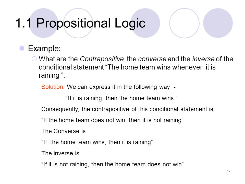 1.1 Propositional Logic Example: What are the Contrapositive, the converse and the inverse of the conditional statement The home team wins whenever it