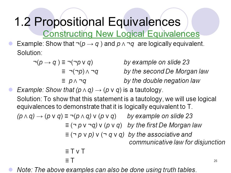 1.2 Propositional Equivalences Constructing New Logical Equivalences Example: Show that ¬(p q ) and p Λ ¬q are logically equivalent. Solution: ¬(p q )