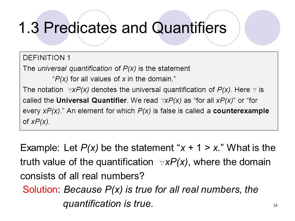 1.3 Predicates and Quantifiers DEFINITION 1 The universal quantification of P(x) is the statement P(x) for all values of x in the domain. The notation