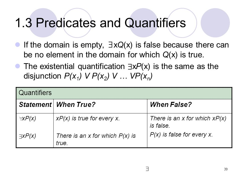 1.3 Predicates and Quantifiers If the domain is empty, xQ(x) is false because there can be no element in the domain for which Q(x) is true. The existe