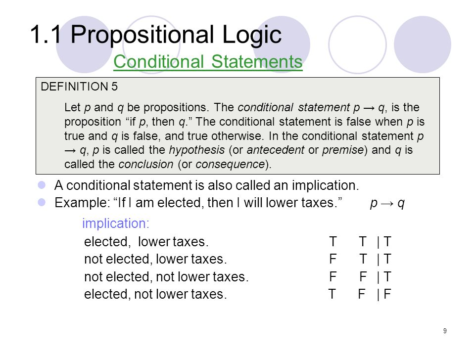 1.1 Propositional Logic Example: Let p be the statement Maria learns discrete mathematics.