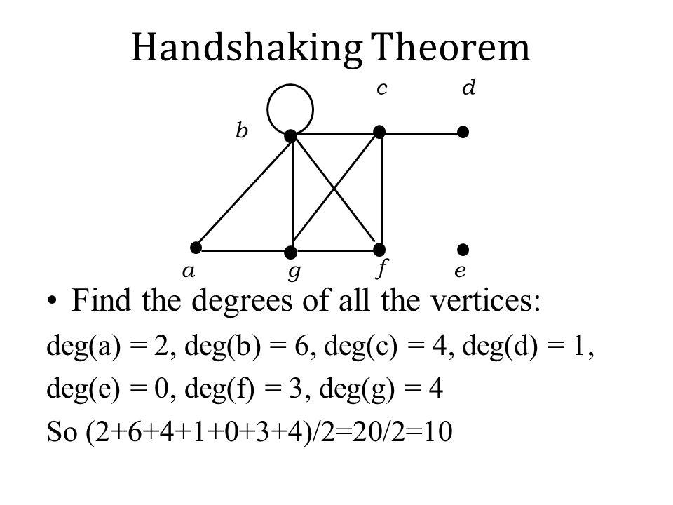 a b g e c d f Handshaking Theorem Find the degrees of all the vertices: deg(a) = 2, deg(b) = 6, deg(c) = 4, deg(d) = 1, deg(e) = 0, deg(f) = 3, deg(g)