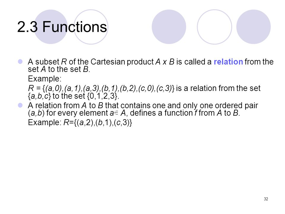 2.3 Functions A subset R of the Cartesian product A x B is called a relation from the set A to the set B. Example: R = {(a,0),(a,1),(a,3),(b,1),(b,2),