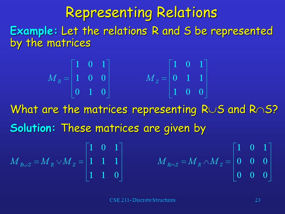 CSE 211- Discrete Structures23 Representing Relations Example: Let the relations R and S be represented by the matrices What are the matrices representing R S and R S.