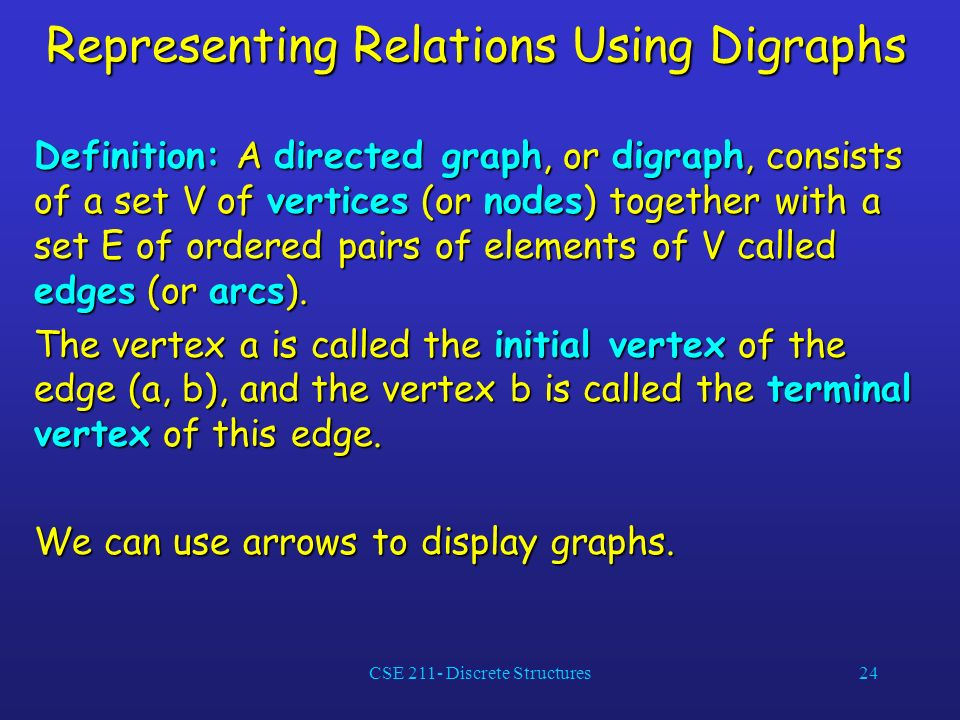 CSE 211- Discrete Structures24 Representing Relations Using Digraphs Definition: A directed graph, or digraph, consists of a set V of vertices (or nodes) together with a set E of ordered pairs of elements of V called edges (or arcs).