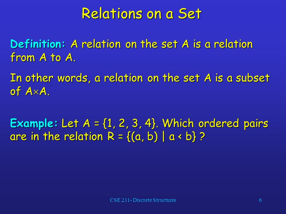 CSE 211- Discrete Structures6 Relations on a Set Definition: A relation on the set A is a relation from A to A.