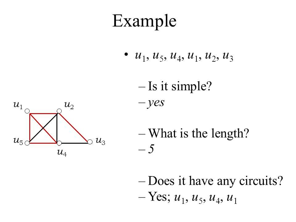 Example u 1, u 5, u 4, u 1, u 2, u 3 –Is it simple? –yes –What is the length? –5–5 –Does it have any circuits? –Yes; u 1, u 5, u 4, u 1 u 1 u 2 u 5 u