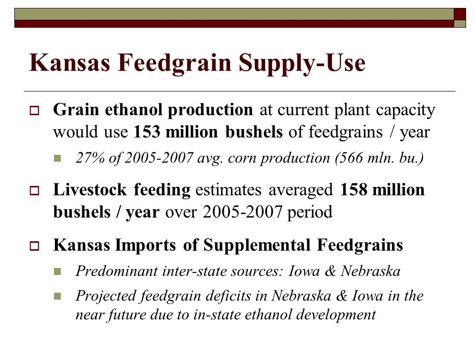 Kansas Feedgrain Supply-Use Grain ethanol production at current plant capacity would use 153 million bushels of feedgrains / year 27% of 2005-2007 avg.