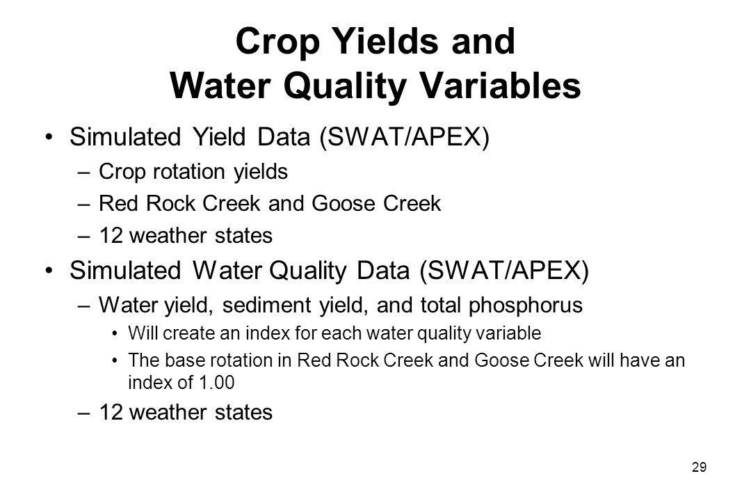 Crop Yields and Water Quality Variables Simulated Yield Data (SWAT/APEX) –Crop rotation yields –Red Rock Creek and Goose Creek –12 weather states Simulated Water Quality Data (SWAT/APEX) –Water yield, sediment yield, and total phosphorus Will create an index for each water quality variable The base rotation in Red Rock Creek and Goose Creek will have an index of 1.00 –12 weather states 29