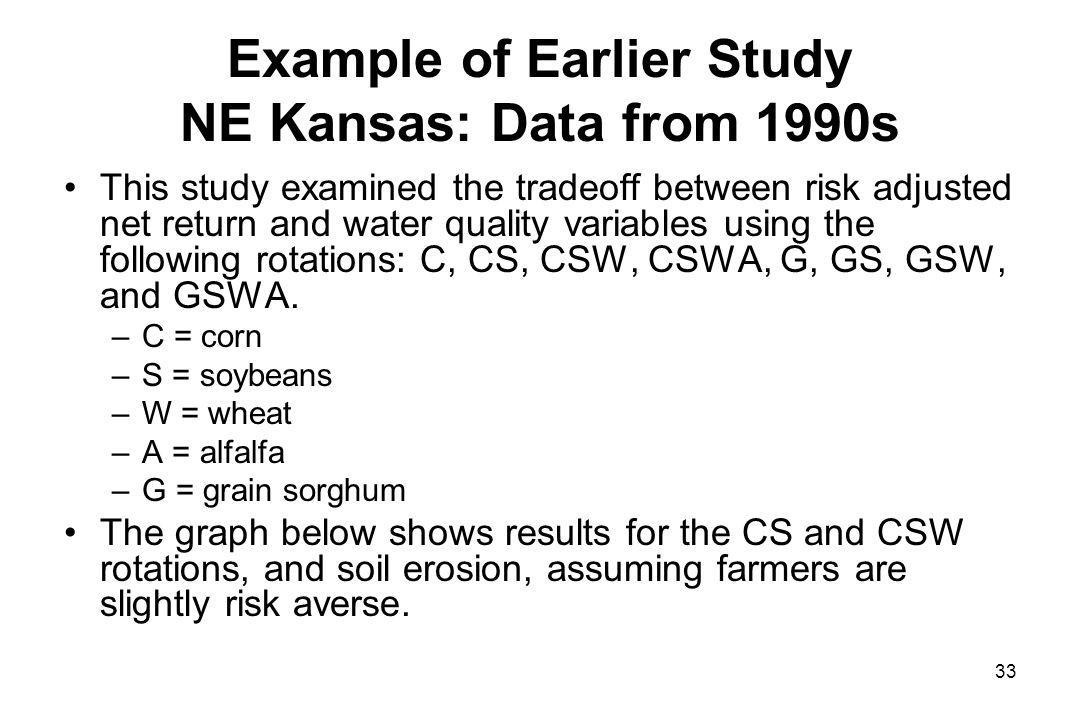 Example of Earlier Study NE Kansas: Data from 1990s This study examined the tradeoff between risk adjusted net return and water quality variables using the following rotations: C, CS, CSW, CSWA, G, GS, GSW, and GSWA.