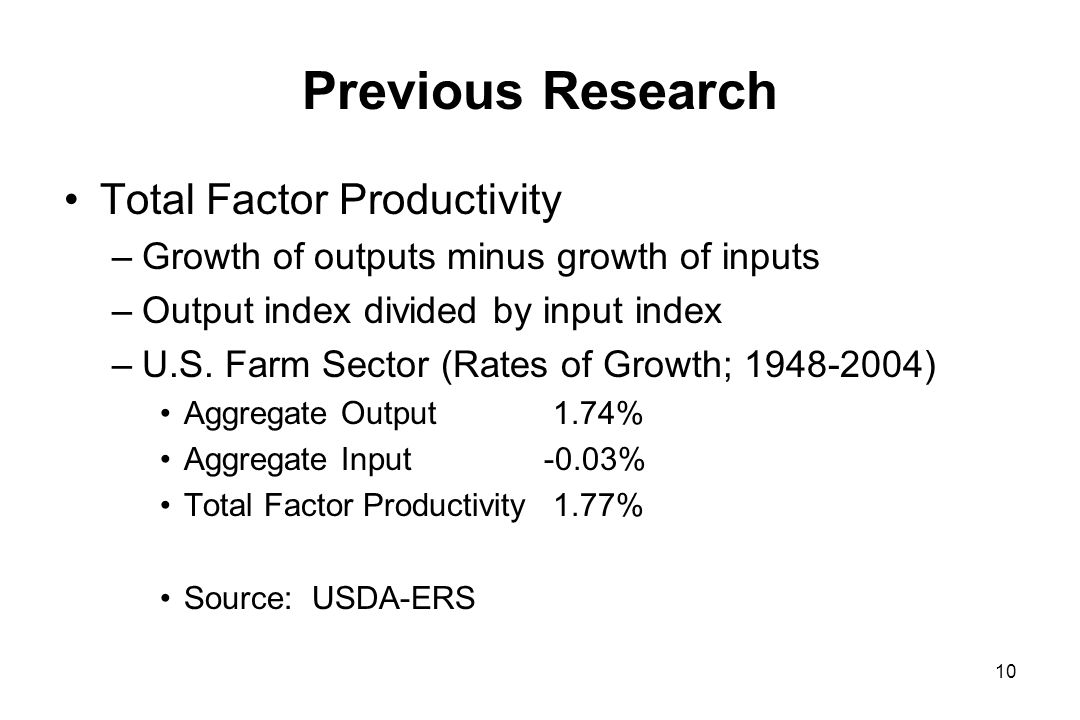Previous Research Total Factor Productivity –Growth of outputs minus growth of inputs –Output index divided by input index –U.S.
