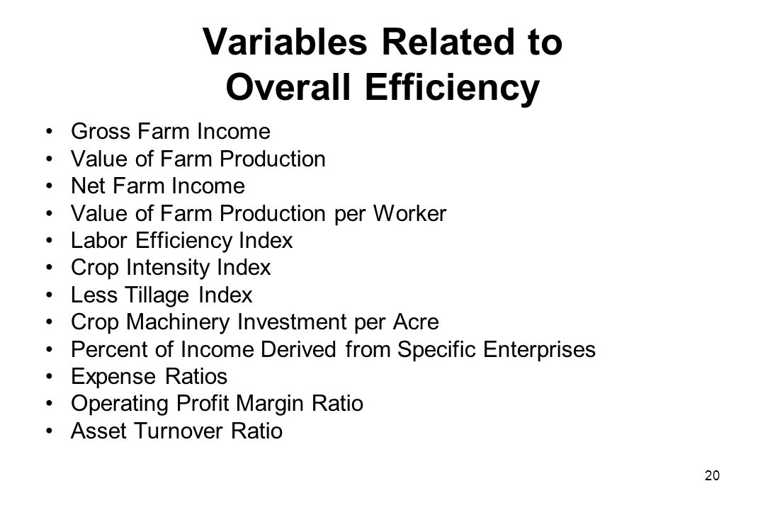 Variables Related to Overall Efficiency Gross Farm Income Value of Farm Production Net Farm Income Value of Farm Production per Worker Labor Efficiency Index Crop Intensity Index Less Tillage Index Crop Machinery Investment per Acre Percent of Income Derived from Specific Enterprises Expense Ratios Operating Profit Margin Ratio Asset Turnover Ratio 20