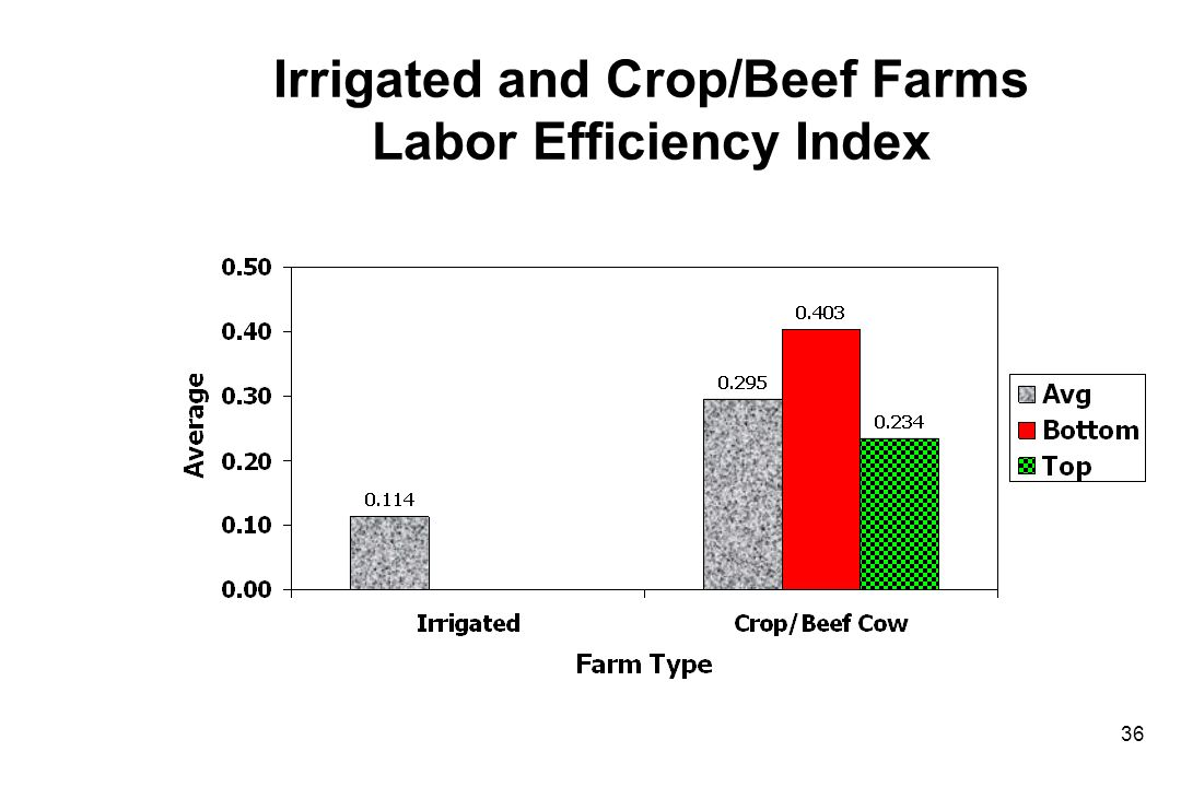 Irrigated and Crop/Beef Farms Labor Efficiency Index 36