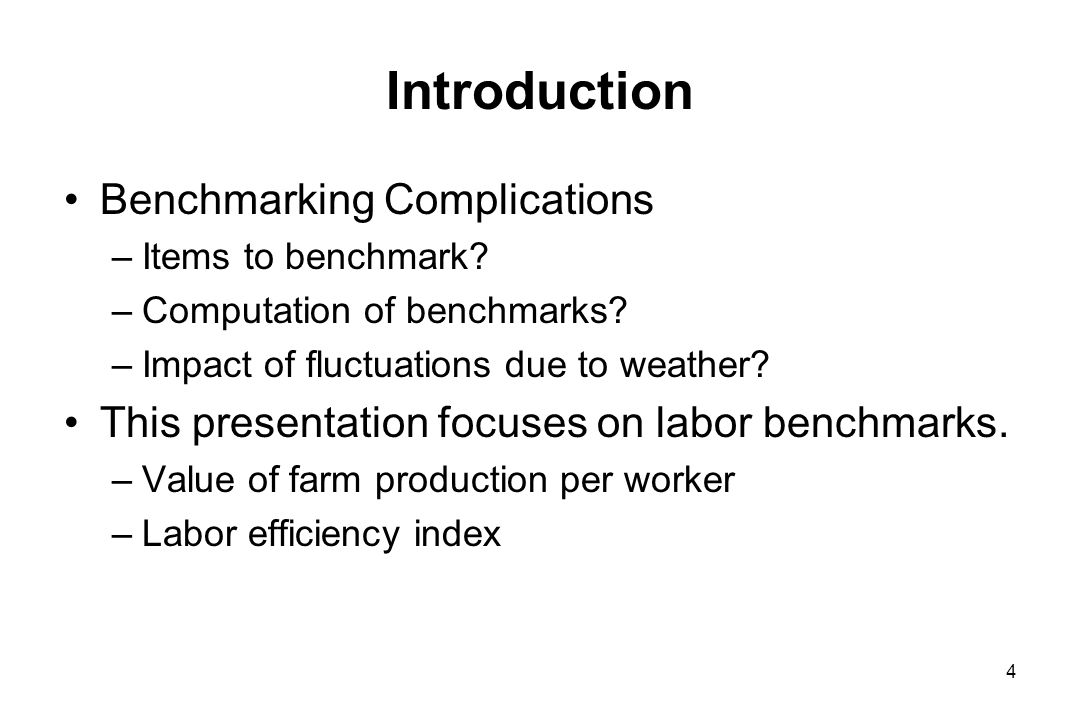 Introduction Benchmarking Complications –Items to benchmark.