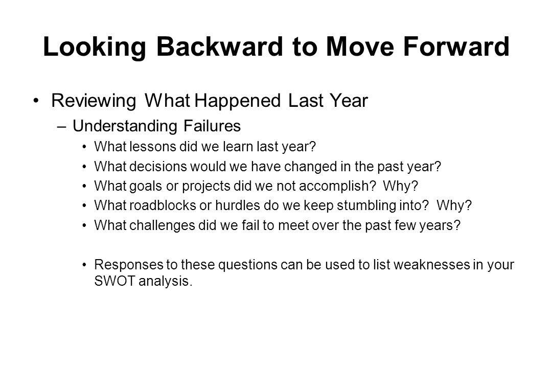 Looking Backward to Move Forward Reviewing What Happened Last Year –Understanding Failures What lessons did we learn last year? What decisions would w