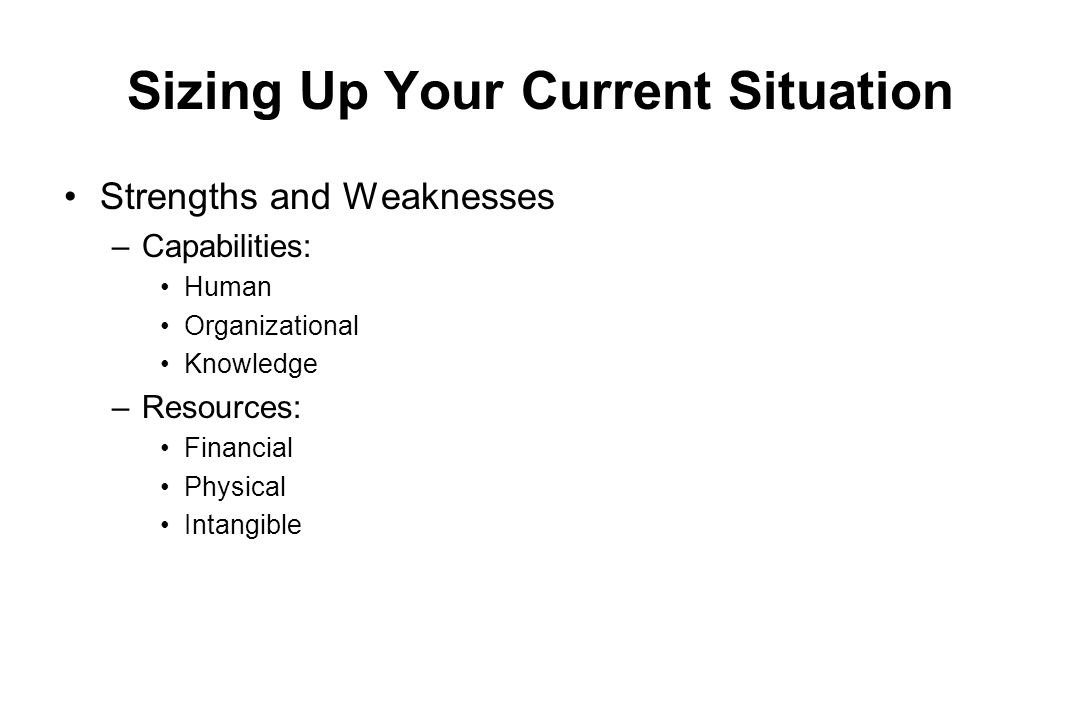 Sizing Up Your Current Situation Strengths and Weaknesses –Capabilities: Human Organizational Knowledge –Resources: Financial Physical Intangible