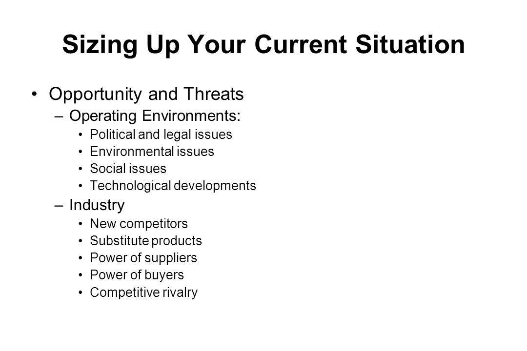 Sizing Up Your Current Situation Opportunity and Threats –Operating Environments: Political and legal issues Environmental issues Social issues Techno