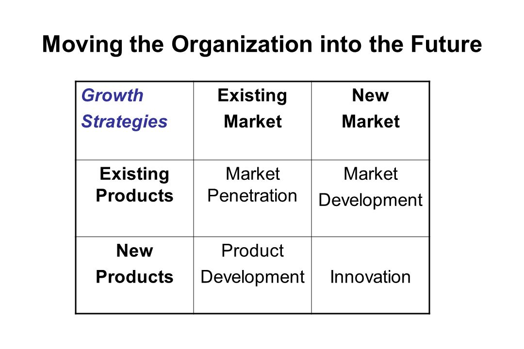 Moving the Organization into the Future Growth Strategies Existing Market New Market Existing Products Market Penetration Market Development New Produ