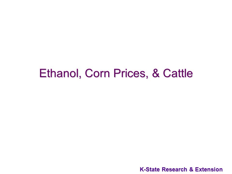 50 K-State Research & Extension Ethanol, Corn Prices, & Cattle