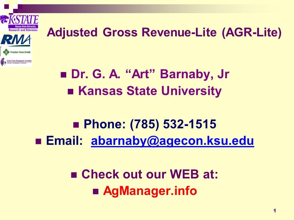 1 Adjusted Gross Revenue-Lite (AGR-Lite) Dr. G. A.