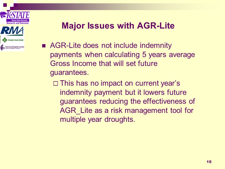 16 Major Issues with AGR-Lite AGR-Lite does not include indemnity payments when calculating 5 years average Gross Income that will set future guarantees.