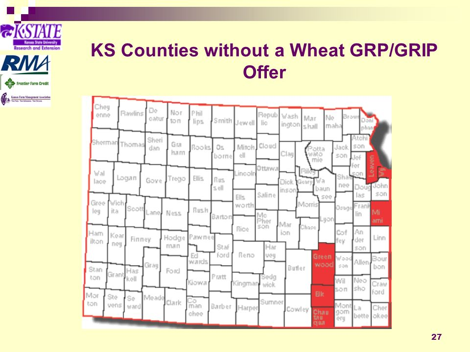 27 KS Counties without a Wheat GRP/GRIP Offer