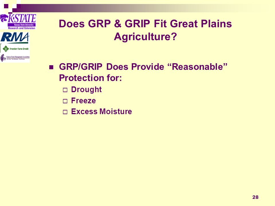 28 Does GRP & GRIP Fit Great Plains Agriculture.