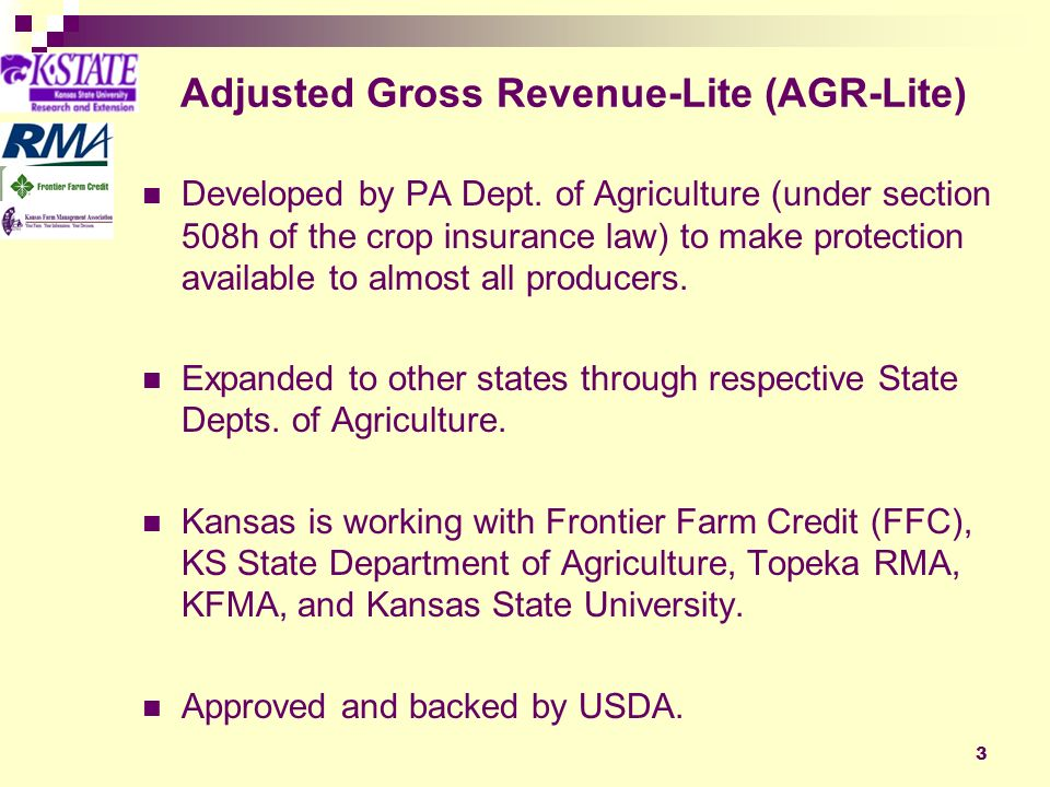 14 Where AGR-Lite makes sense Otherwise uninsurable commodities are covered Organic production is protected at realistic prices Direct Marketed production is protected at realistic prices Umbrella over selected individual crop coverages Bottom line for operation from severe economic loss Individual protection based on personal yield, quality and price history plus low price protection, Provide an alternative for farmers with reduced APH caused by multiple years of drought.