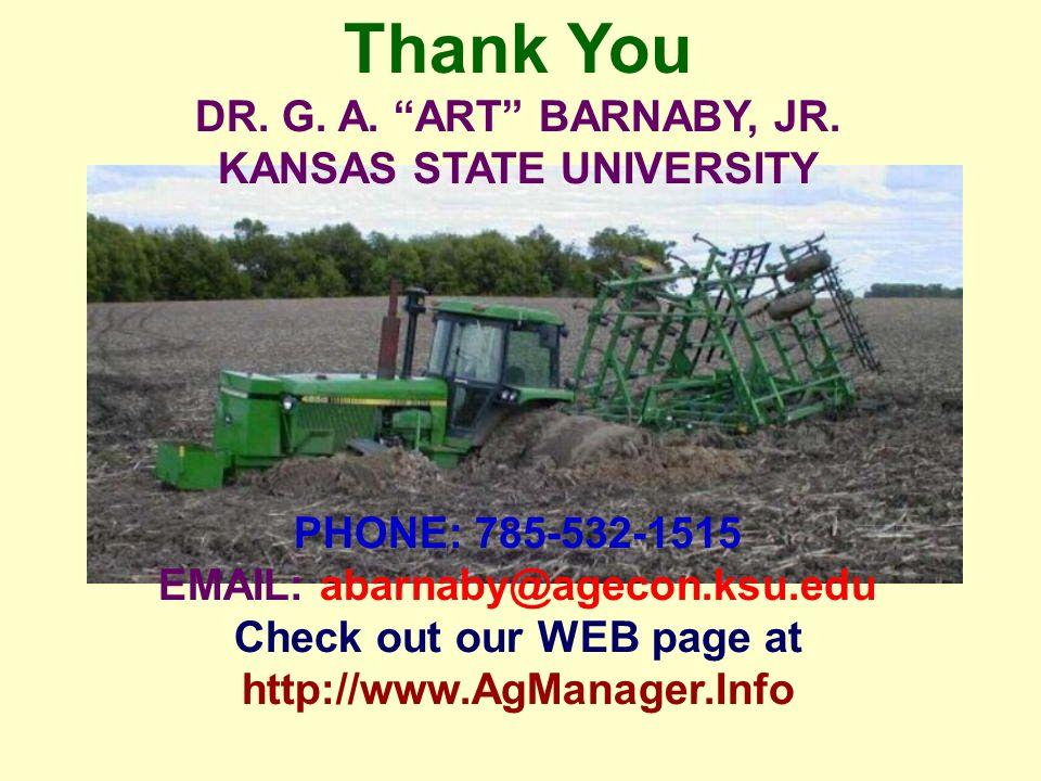 Thank You DR. G. A. ART BARNABY, JR.