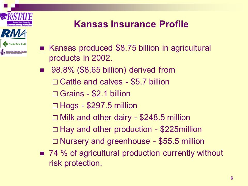 6 Kansas Insurance Profile Kansas produced $8.75 billion in agricultural products in 2002.