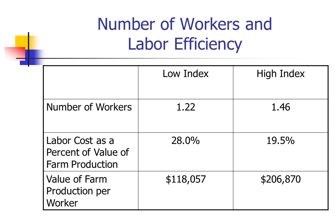 Number of Workers and Labor Efficiency Low IndexHigh Index Number of Workers Labor Cost as a Percent of Value of Farm Production 28.0%19.5% Value of Farm Production per Worker $118,057$206,870