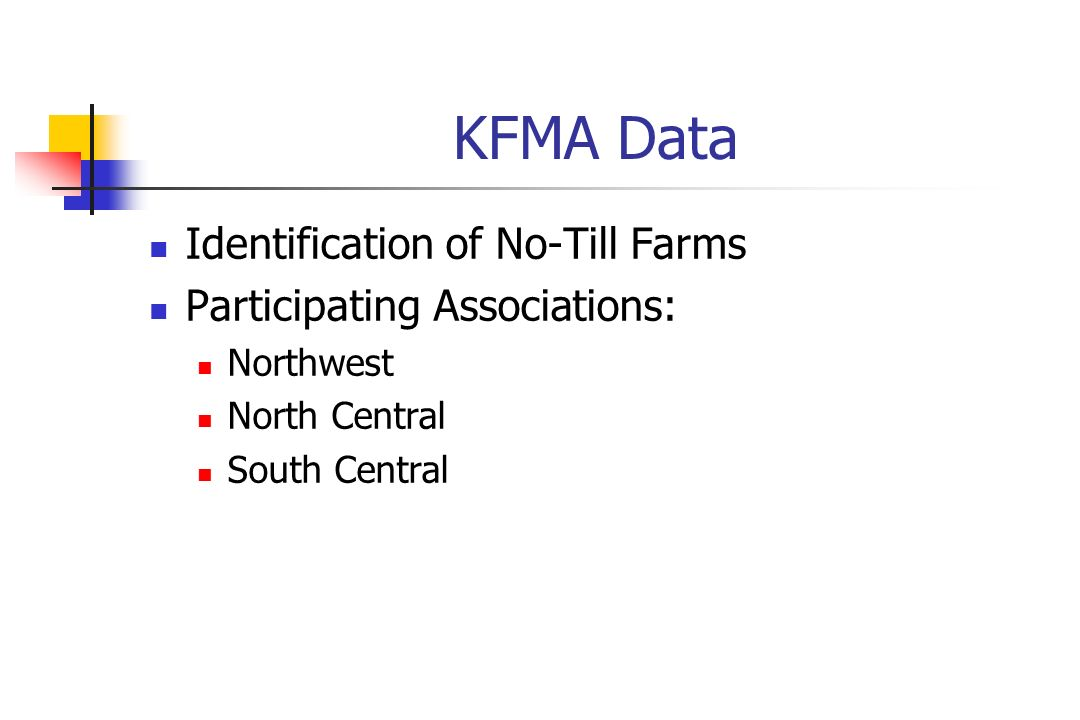 KFMA Data Identification of No-Till Farms Participating Associations: Northwest North Central South Central