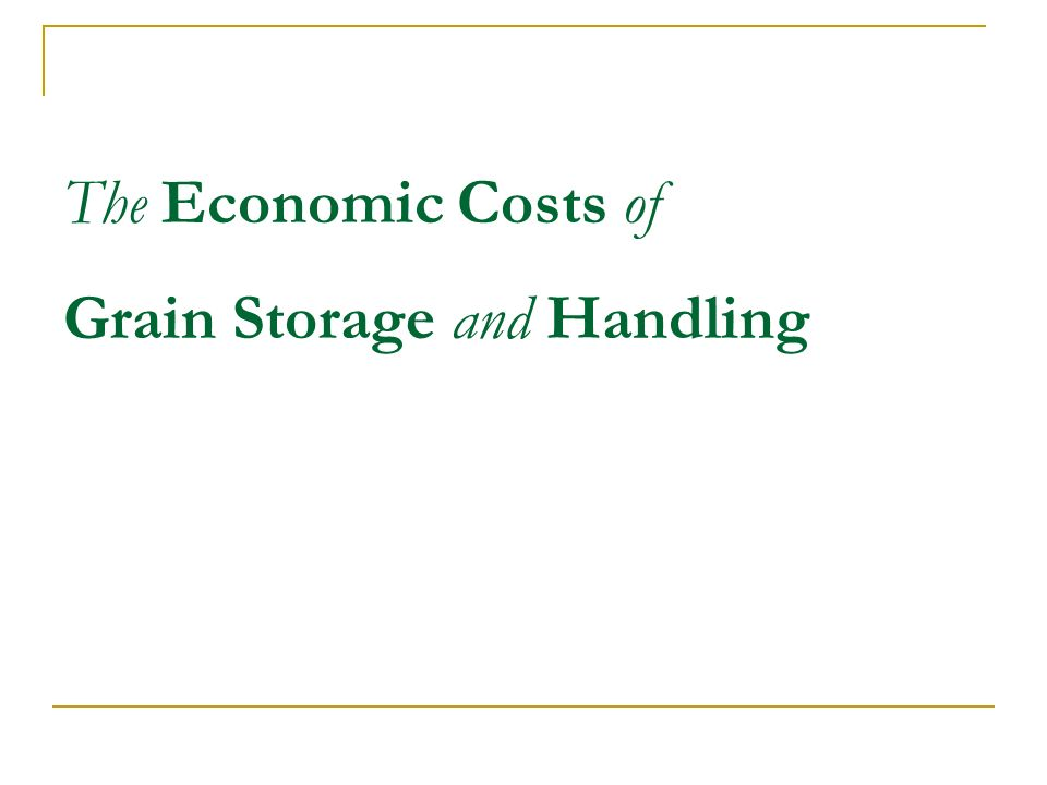 The Economic Costs of Grain Storage and Handling
