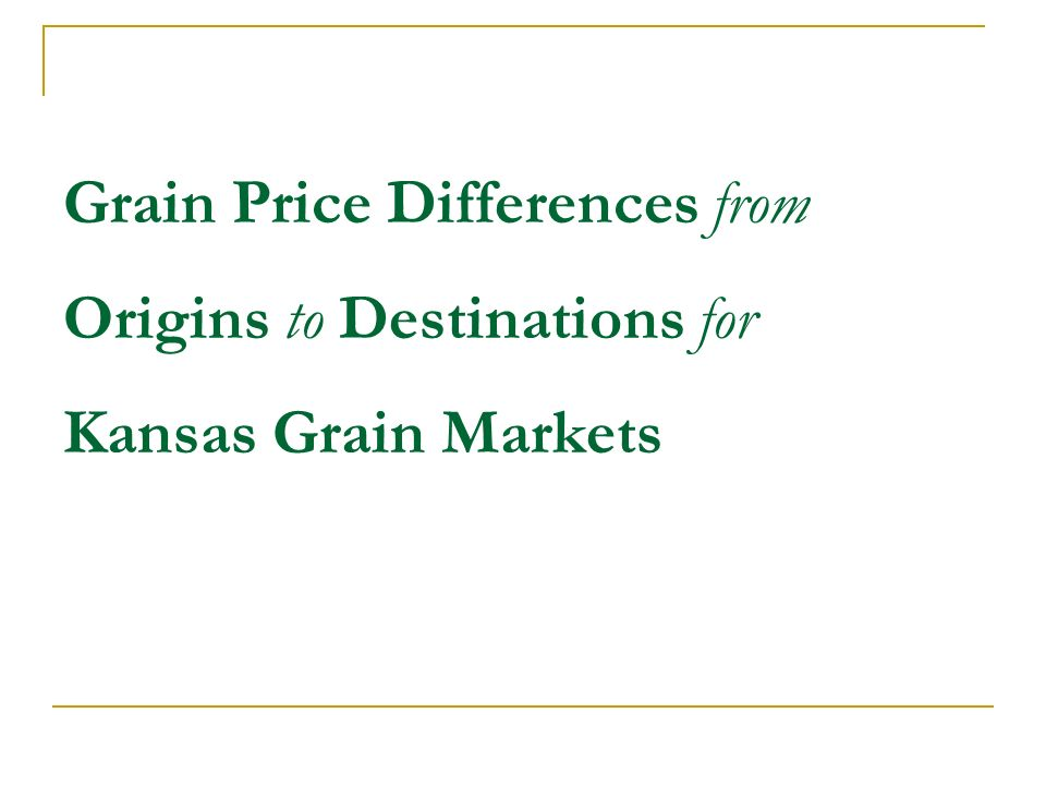 Grain Price Differences from Origins to Destinations for Kansas Grain Markets