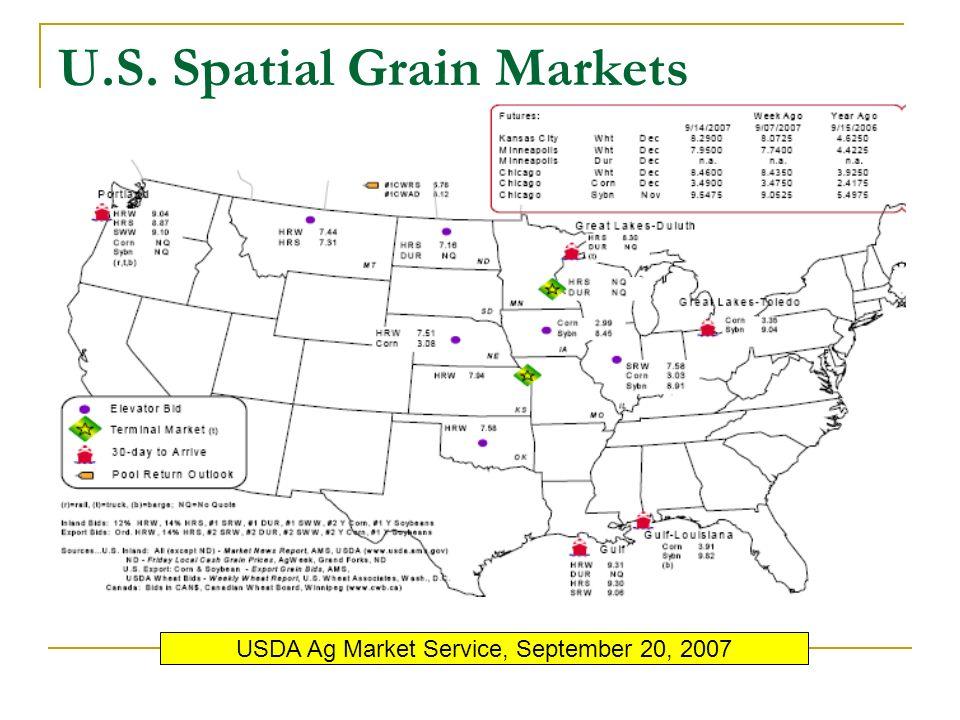 U.S. Spatial Grain Markets USDA Ag Market Service, September 20, 2007