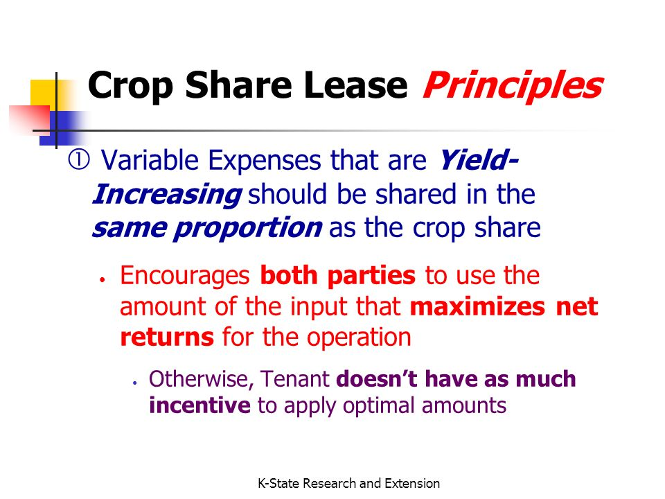 K-State Research and Extension Final Thoughts: Crop Share Vs.