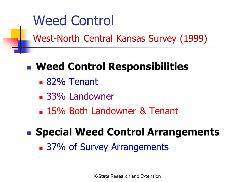 K-State Research and Extension Weed Control West-North Central Kansas Survey (1999) Weed Control Responsibilities 82% Tenant 33% Landowner 15% Both Landowner & Tenant Special Weed Control Arrangements 37% of Survey Arrangements