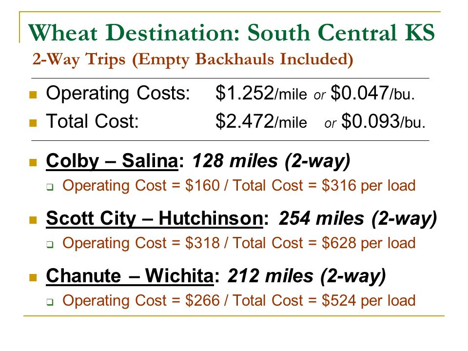 Wheat Destination: South Central KS 2-Way Trips (Empty Backhauls Included) Operating Costs: $1.252 /mile or $0.047 /bu. Total Cost: $2.472 /mile or $0