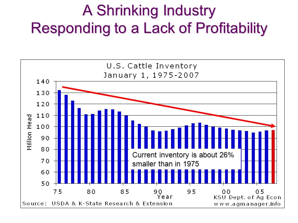 A Shrinking Industry Responding to a Lack of Profitability Current inventory is about 26% smaller than in 1975