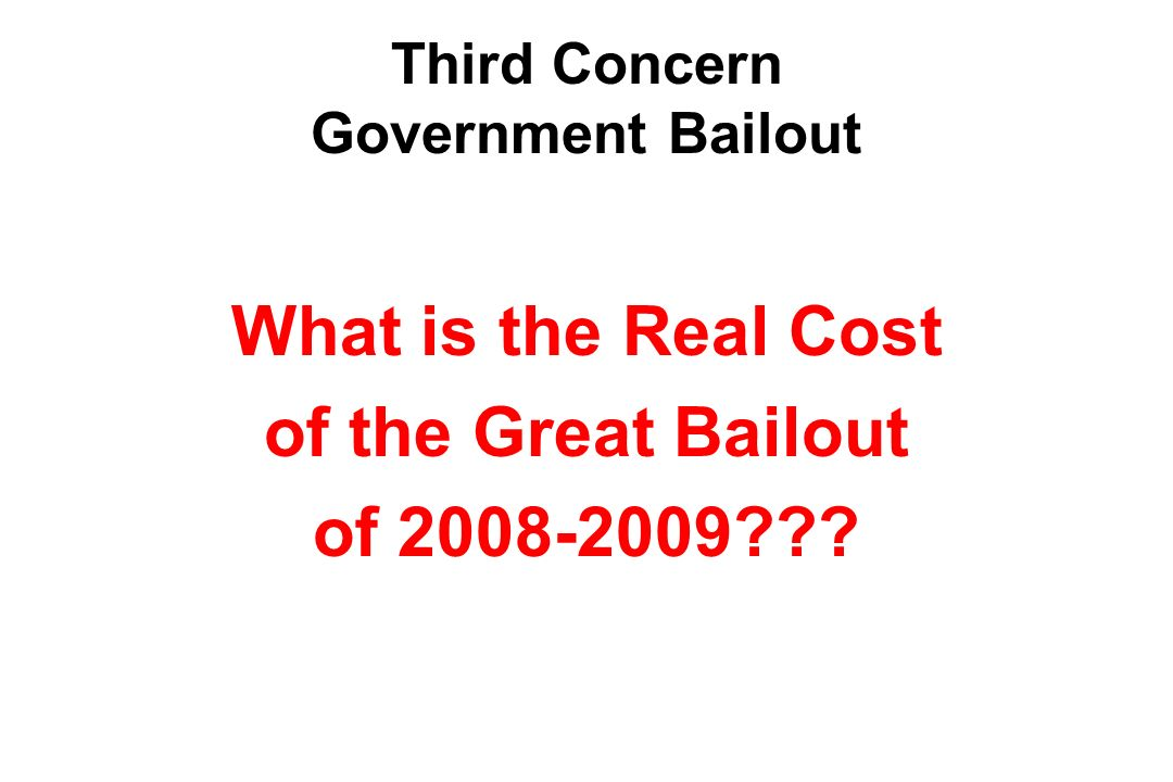 Third Concern Government Bailout What is the Real Cost of the Great Bailout of 2008-2009