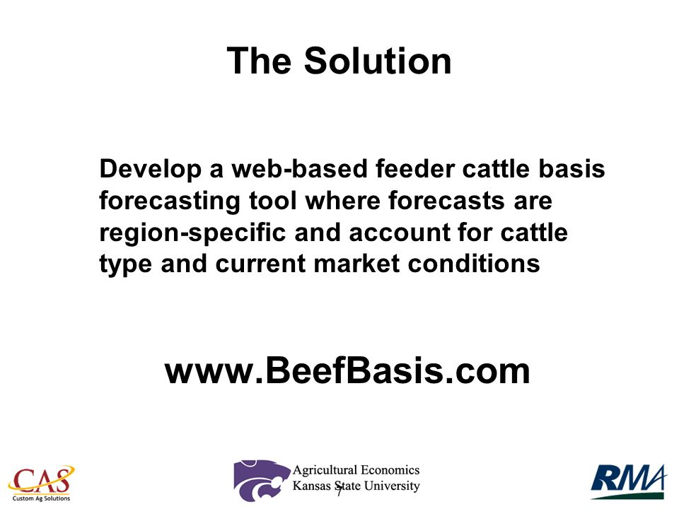 7 Develop a web-based feeder cattle basis forecasting tool where forecasts are region-specific and account for cattle type and current market conditio